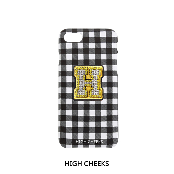 [50%]Initial Embellished Plastic Phone Case_Black Check