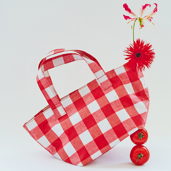 [75%할인] Gingham Check Boat Bag_2Color