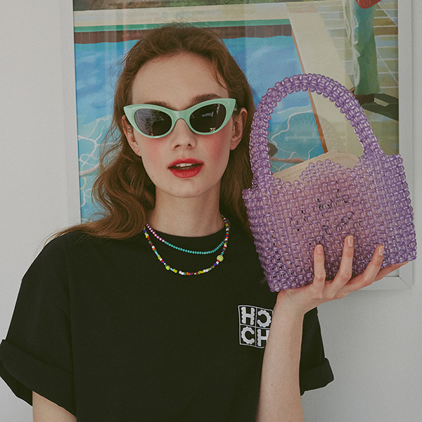 [25%할인]Tulip Beads Tote Bag_Violet