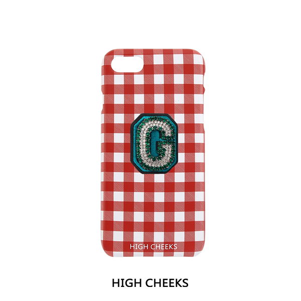 [50%]Initial Embellished Plastic Phone Case_Red Check