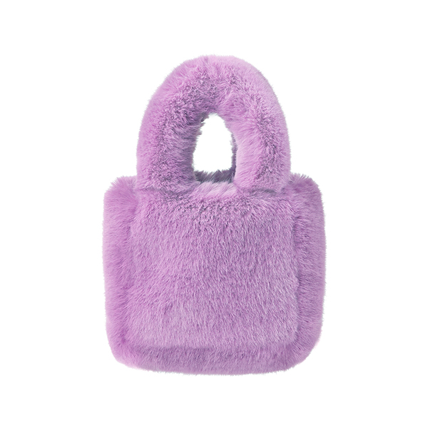 Teddy Fur Tote Bag_Violet