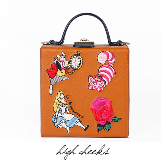 [Disney│high cheeks]Alice Pattern Character Trunk Bag