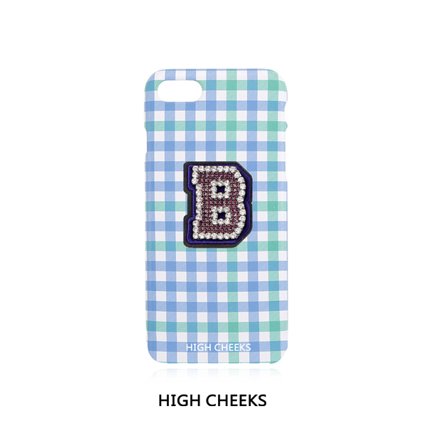 [50%]Initial Embellished Plastic Phone Case_Blue Check