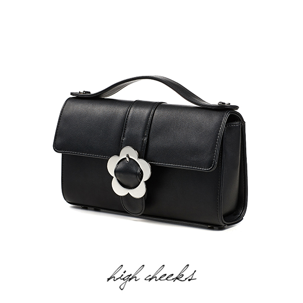 Heyday Flower Buckle Bag_Black Leather