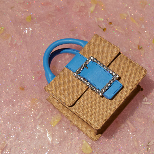 Lady Embellished Pocket Bag_Raffia Blue