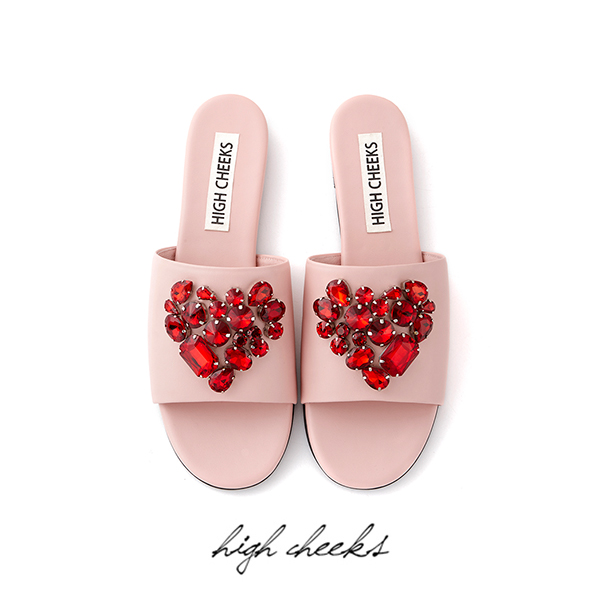 Heart Embellished Slides_Pink