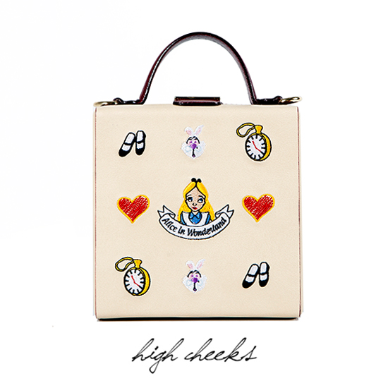 [SAMPLE SALE Price] [Disney│high cheeks]Alice Pattern Colorblock Trunk Bag